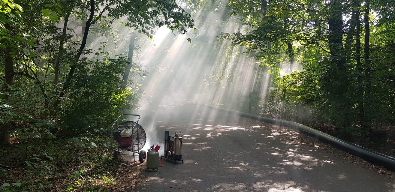 Nebelmaschine steht zwischen den Bäumen im Park und wirft künstlichen Nebel in den grünen Hirschgarten mitten in München